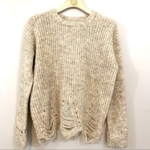 Anthropologie Ruby Moon Fringed Pullover Sweater